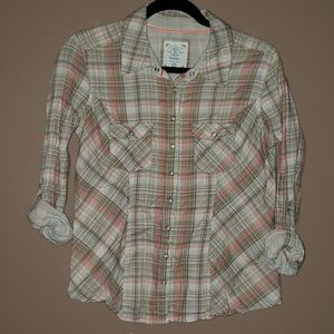 Plaid roll up button sleeve top